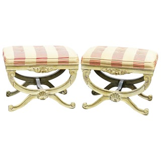 Distressed Cream Painted Cerule Tufted Stools - A Pair