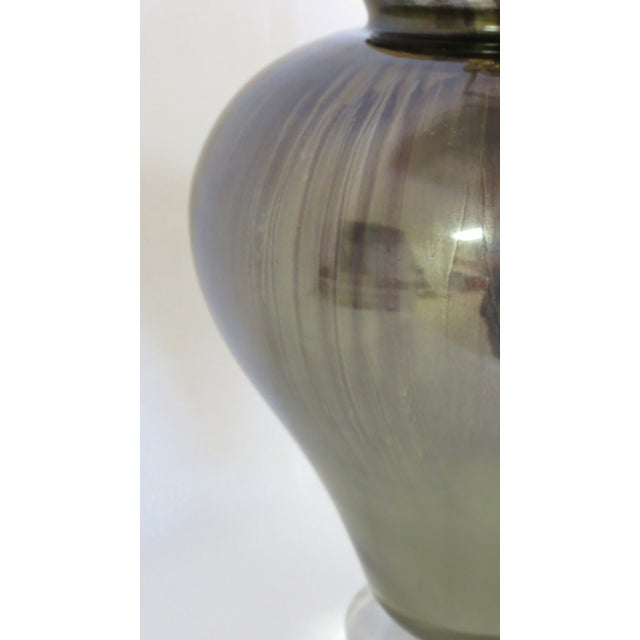 Bronzed Gold and Purple Glass Lamp - Image 4 of 8