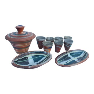 Vintage Studio Pottery Art Hand Painted Collection - Set of 10
