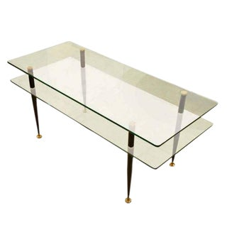 Two Tiered Glass Cocktail Table in the style of Fontana Arte