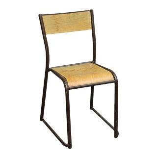 Imported Brown Steel & Wood School Chair