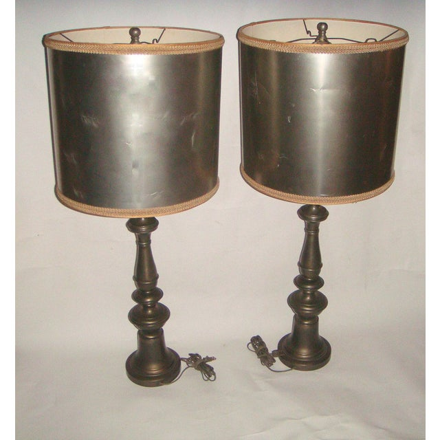 1920's Pewter Table Lamps - A Pair - Image 7 of 7