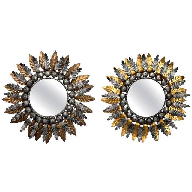 Pair Mid Century Spanish Gilt and Silver Metal Sunburst Mirrors - Image 1 of 9