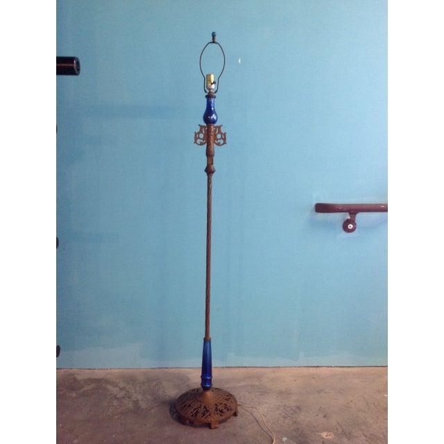 home lighting floor lamps art deco blue mercury glass floor lamp. Black Bedroom Furniture Sets. Home Design Ideas