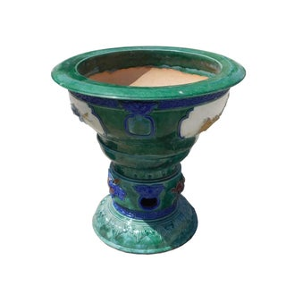 Green Clay Ceramic Round Pedestal Planter/Pot