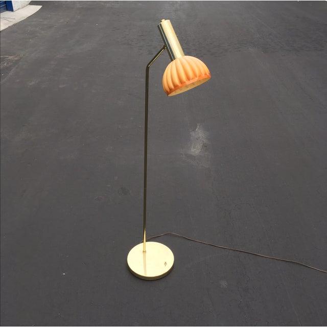 Melrose Mid Century Brass White Shade Floor Lamp: Mid-Century Brass & Acrylic Floor Lamp