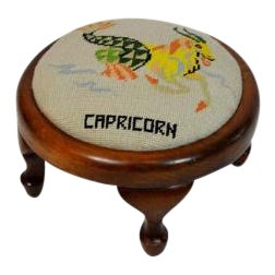 Mod Capricorn Needlepoint Mod Capricorn Footstool