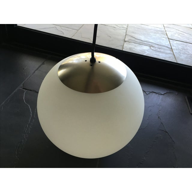 Mid century modern white glass globe pendant chairish for Mid century modern globe pendant light