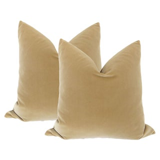 Camel Velvet Pillows - A Pair