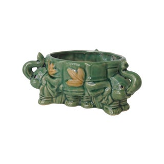 Asian Ceramic Glazed 3-Sided Elephant Planter