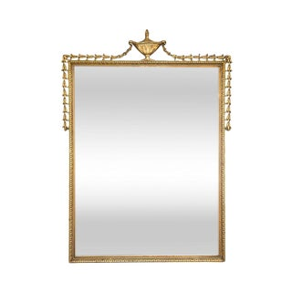 Classical Gilt Mirror With Urn Crest Adornment