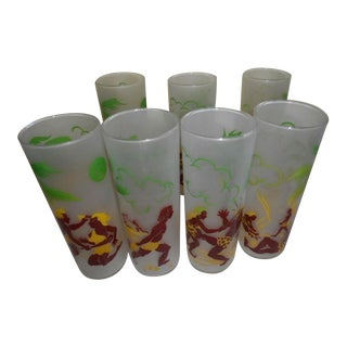 Black Americana Tiki Frosted Glass Tumbler Tom Collins - S/7