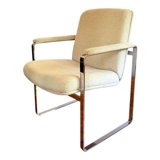 Milo Baughman Style Mid-Century Chrome Arm Chair