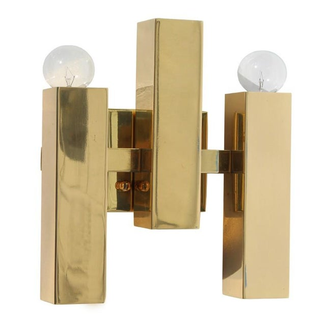 Modern Rectangular Brass Sconce - Image 1 of 4