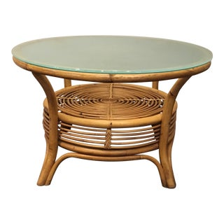 Vintage Round Bamboo Table