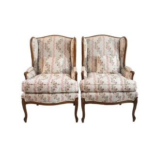 Floral & Purple Velvet Wingback Chairs - A Pair