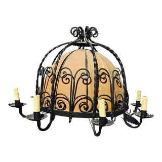 French Large Wrought Iron Chandelier