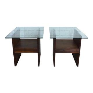Mid-Century Modern Walnut & Glass Side Tables - A Pair