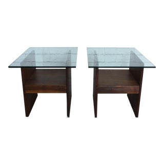 Mid-Century Modern Walnut & Glass Side Tables - A Pair