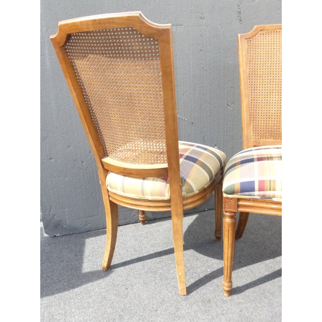 Plaid & Cane Back Dining Room Chairs - Set of 4 | Chairish