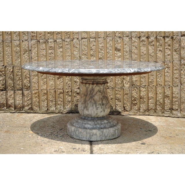 Vintage Decorator Hollywood Regency Italian Grey Marble Round Coffee Table - Image 5 of 8