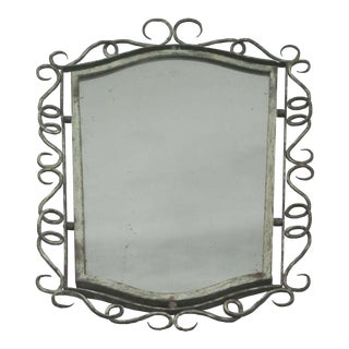 French 1940s Wrought Iron Mirror Attributed to René Drouet
