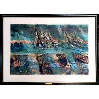 "Howard Bradford 1963 ""November Seas"" Serigraph"