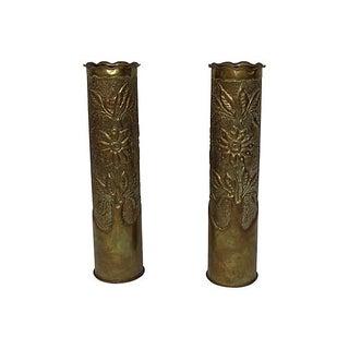 Art Deco Brass Vases - Pair