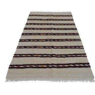 Vintage Natural Stripe Turkish Sisal Kilim Rug - 4′7″ × 7′11″