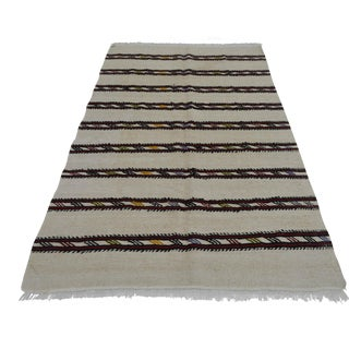 Vintage Natural Stripe Turkish Sisal Kilim Rug - 4′7″ × 7′11″