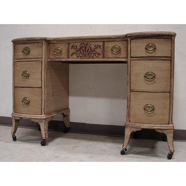 Image of Painted Antique Wood Vanity Desk on Castors