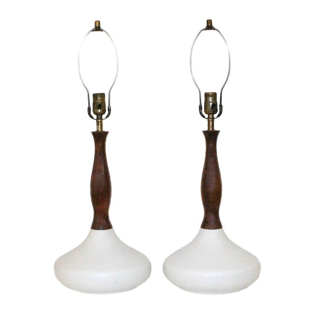 Image of Danish Modern Sculptural White Pottery Lamps, Pair