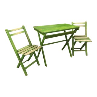 French Riviera Green Wooden Folding Patio Table & Chair Set