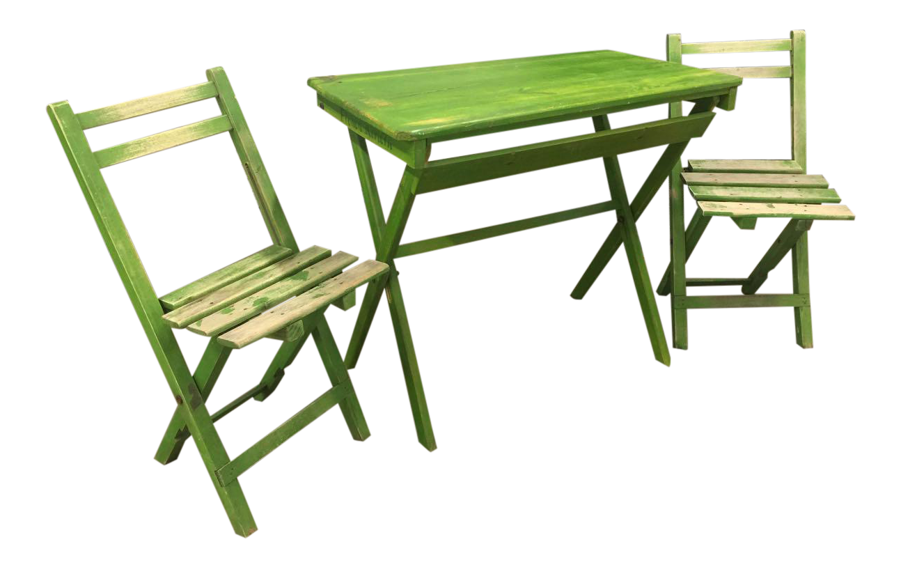 French Riviera Green Wooden Folding Patio Table U0026 Chair Set