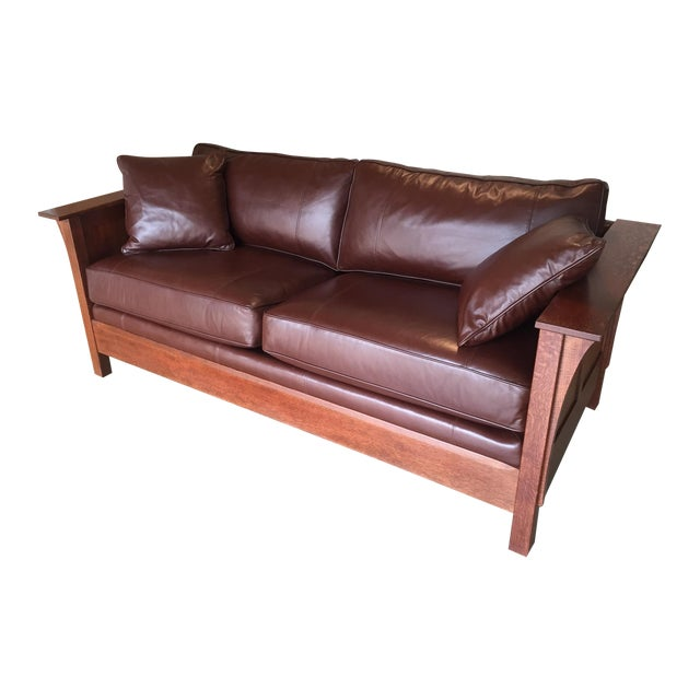Stickley Leather and Wood Sofa - Image 1 of 7