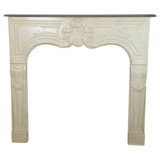 Vintage Cream & Brown Marble Fireplace Mantle