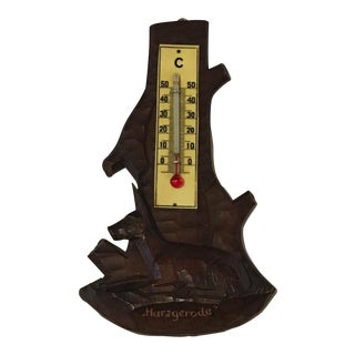 Black Forest Thermometer Wall Decoration with Roe Deer