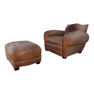 French Art Deco Distressed Leather Chair & Ottoman