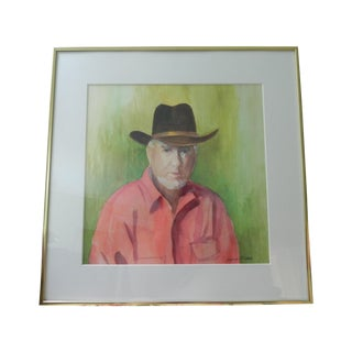 """Cowboy"" Watercolor Portrait by Muriel Rider"