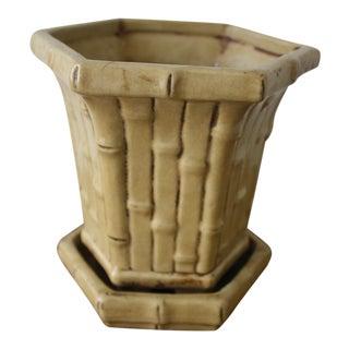 Faux Bamboo Ceramic Planter
