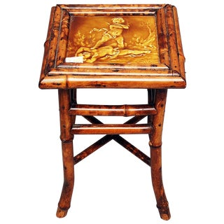 Antique Bamboo & Majolica Side Table