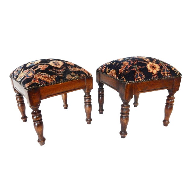 Antique Hamadan Rug Wood Stools - a Pair - Image 1 of 7