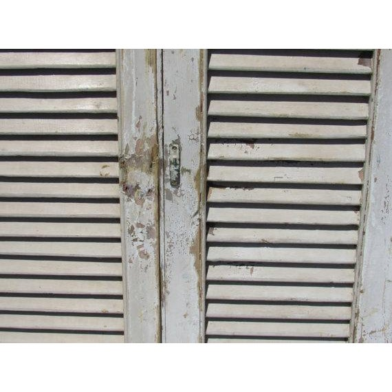 Rustic White European Louvered Shutters - A Pair - Image 4 of 5