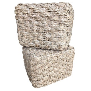 Woven Seagrass Cube Shaped Poufs - A Pair