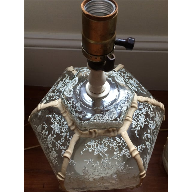 1960's Hollywood Regency Lace Glass Lamps - A Pair - Image 3 of 5