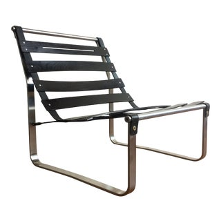 Vintage Modern Ebonized Wood Slat Lounge Chair