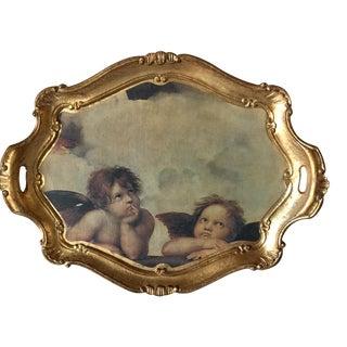 Vintage Florentine Angel Tray