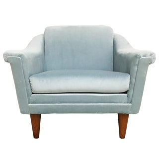 Dux Mid-Century Modern Blue Velvet Club Chair