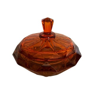 Vintage Viking Amberina Covered Candy Dish