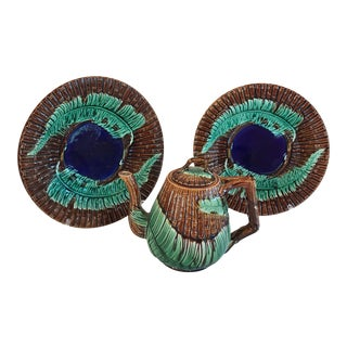 Majolica Fern and Bamboo Plates & Teapot - Set of 3